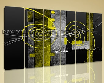 "Huge 6 Pieces Modern Abstract Painting Home Decor Wall Art Print Canvas Yellow, Abstract canvas art,  size canvas print, 65""x38"""