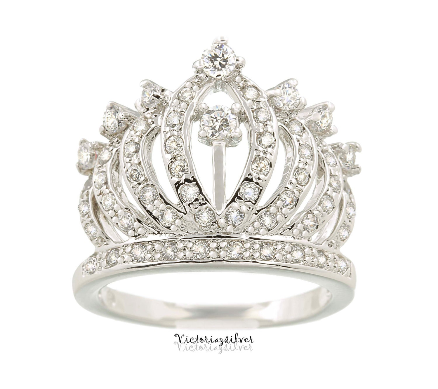 sterling silver crown ring with stonestiara ring