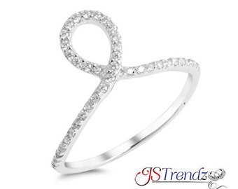 925 Sterling Silver Micro Pave CZ Loop Knot Elegant Ring size 5 6 7 8 9 10