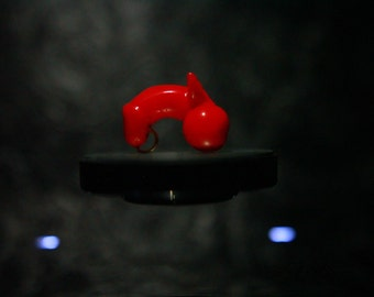3d printed red Penis with devil horns pendant