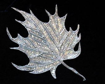 "Leaf Appliqué with Crystal Iridescent Sequins and Beads 8"" x 6""  -7075"