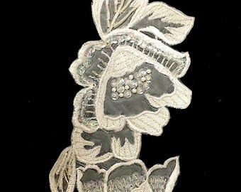 """White Embroidered Flower Appliqué with Iridescent Sequins and Beads, 8.5"""" x 3.5""""  -9624-1169"""