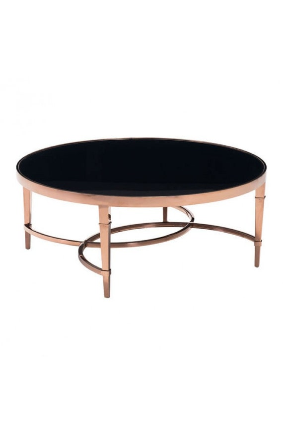 Elite Coffee Table Rose Gold And Black Glass By Luxepalmbeach