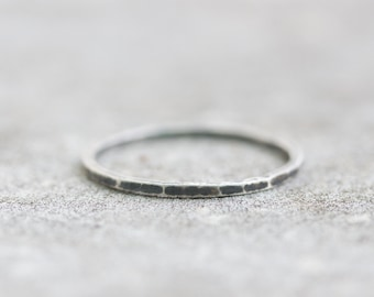 Black marble - stacking ring, Sterling silver stackable ring