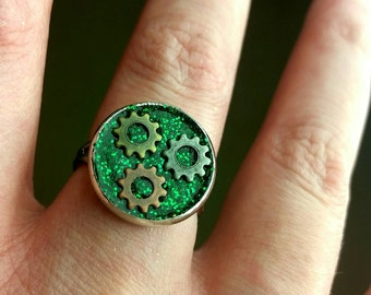 Steampunk Ring-Gold Tiny Gears-Green Glitter-Bronze Ring-Best Selling Items-Top Selling Items-Top Sellers