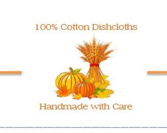 Fall Dishcloth / Washcloth Labels Handmade with Care - 5 per page