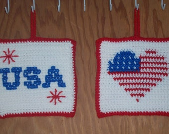 Double Thick Crocheted Patriotic Potholders / Hotpads - set of 2