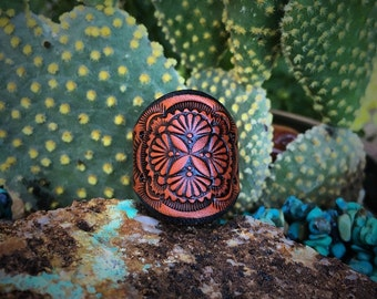 Leather Ring~ 4 Point Geometric Flower