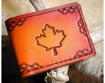 Maple leaf leather bifold wallet