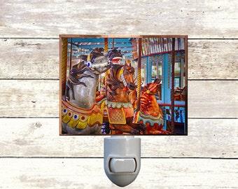 Newborn Night Light - Carousel 6 - New Orleans art -  Handmade - Copper Foiled - Childrens room - Nursery Art - Lighting -