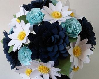 Paper flower wedding bouquet-navy, light blue, white