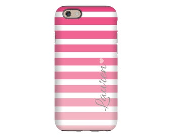 Pink ombre stripes personalized iPhone 6s case, iPhone 6s cases for girls, iPhone 5c case, iPhone 5s, iPhone SE case, 3D iPhone case