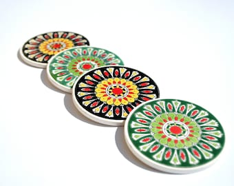 Ceramic Coaster, Drink Coaster, Tile Coaster, Greek Ceramic, Handpainted Coaster, Coaster Set, Bohemian Coaster, Mandala Coaster, Boho Decor