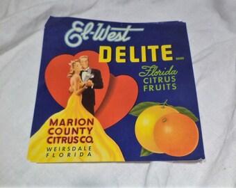 Crate Label, El West Marion County Florida Citrus Crate Label, Agricultural Farm Salvage