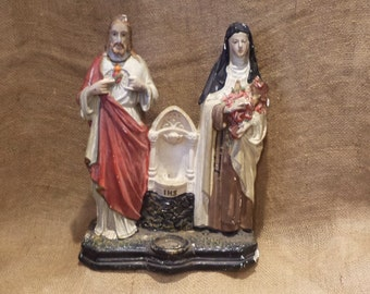 Chalkware Jesus and Saint Teresa Figurine, Vintage Old Carnival or Midway Prize, Antique Religious Statue