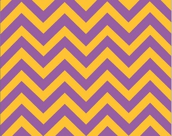 Purple and yellow-gold chevron craft  vinyl sheet - HTV or Adhesive Vinyl -   athletic yellow zig zag pattern