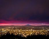Portland Oregon Sunrise Photograph Skyline Mt Hood Downtown 8x10 Print Wall Decor PDX Twilight Pittock Mansion Pacific Northwest