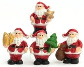 Miniature Santas, Set of 4 Miniature Santas, Mini Santas, Mini Christmas, Christmas Crafts, Christmas Miniatures, Crafts for Kids
