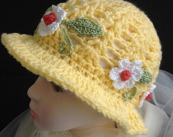 Girl's Crocheted Hat for Spring and Summer
