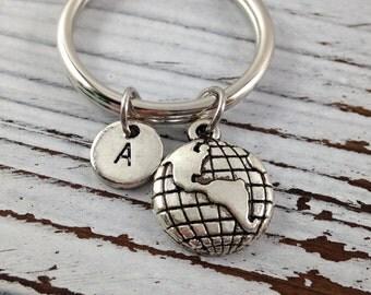 Globe Keychain, Globe Key Chain, Personalized Keychain, Custom Keychain, Travel Keychain, Initial Keychain, Gift Under 10