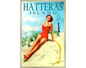 Hatteras Island Outer Banks North Carolina - New Pinup Travel Poster -in 4 sizes- Beach Bathing Beauty Lighthouse OBX Ocean Art Print -091