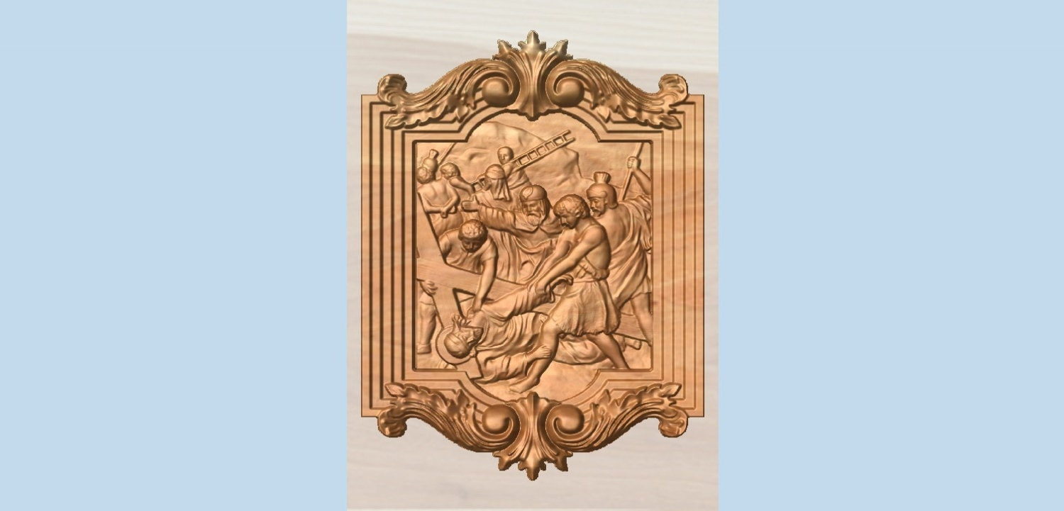 Station of the cross wood carving catholic th