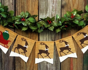 CHRISTMAS Burlap Banner, Christmas Decoration, Reindeer Santa Sleigh Holiday Photo Prop Mantel Decoration Wall Hanging