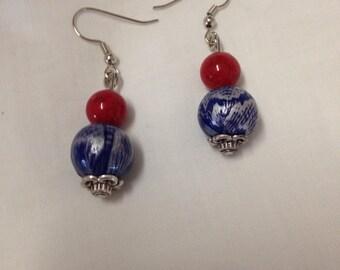 """Earrings, """"Strauss"""" red and blue pierced earrings"""