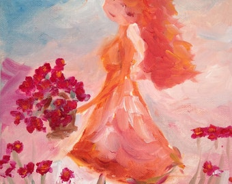 Girl with Poppies  Original Oil Painting 5 x 7