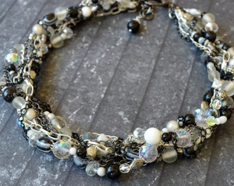Black and White Glass & Chain Statement Necklace
