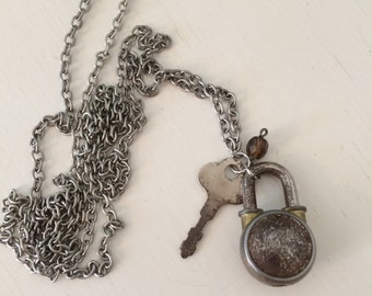 Vintage Silver Necklace  with Small Lock, Key and Brown Bead