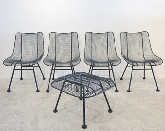 Set of 4 Russell Woodard Sculptura Patio Chairs with Matching Ottoman