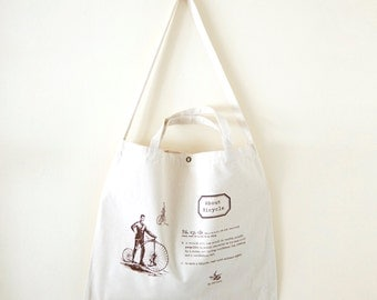 Cotton canvas Vintage Pattern Tote Bag---About Bicycle (On Sale NOW!!!)