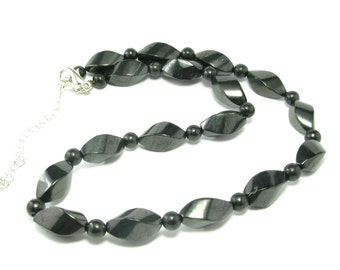 Shungite Necklace with Nicely Tumbled Beads From Russia - 18""