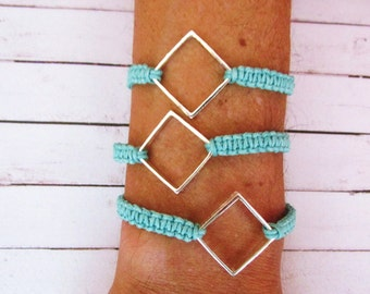 Friendship Bracelet Square Connector Golden Silver Rosé Gold Pink Green Purple 7 inches / 18 cm Boho Hippie Bohemian Summer Arm Candy Stack