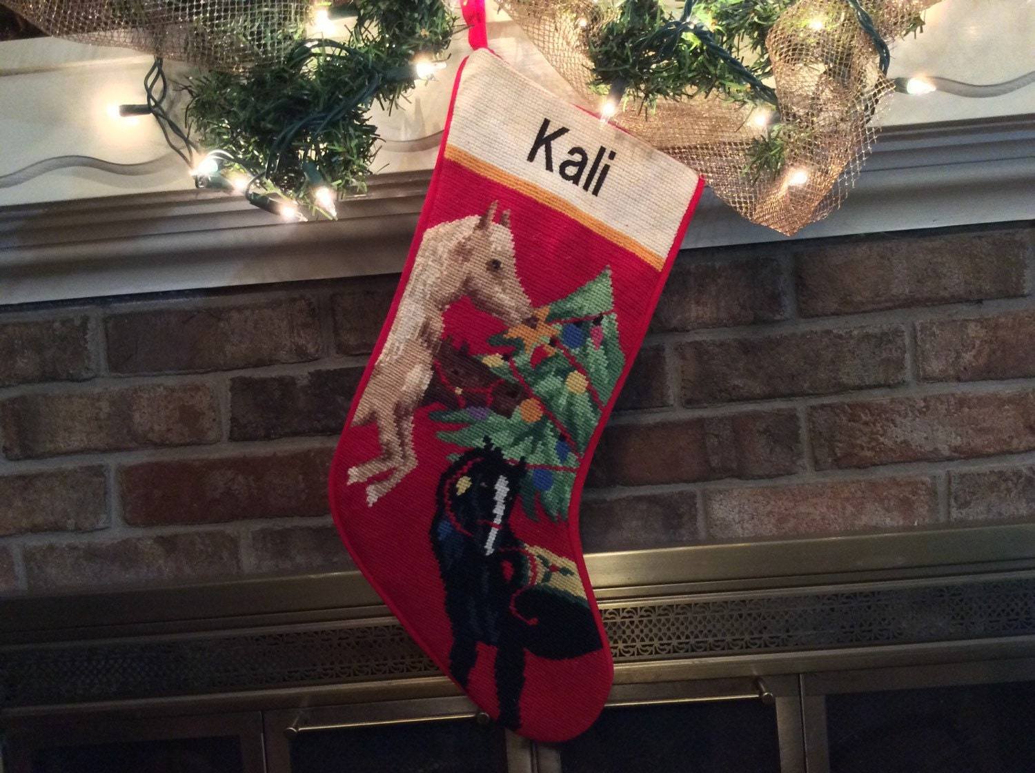 Personalized Horse Needlepoint Christmas Stocking By