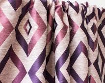 Pink Purple Window Curtain Panels, Geometric Custom Curtains, 44 63 84 90 96 108 120 inch Rose Gold Drapes, Purple Drapery Panels