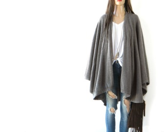 TAKE 40% OFF Made in Italy WOOL Slouchy  Cape Drape Open-Cardigan Sweater-Grey  Poncho Cape shawl  One Size