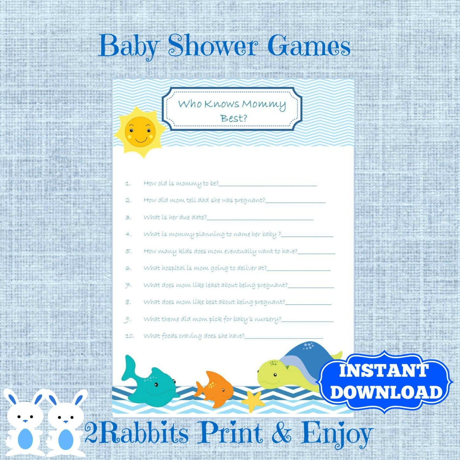 Under the Sea Baby Shower Game Who Knows Mommy Best Sea Baby