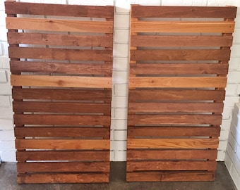 Modern wood slat house shutters (pair)