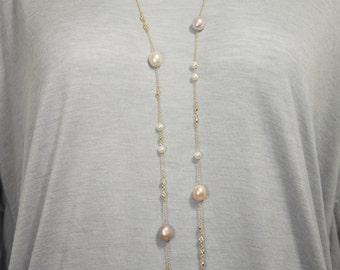 Long Freshwater Pearl and CZ Gold Plated Sterling Silver Necklace