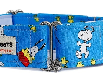 "Noddy & Sweets Adjustable Martingale Collar [1"", 1.5"" 2"" Snoopy Oh Joy! Blue]"