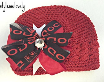 Dodge Red and Black Baby Girl Boutique Bow Crocheted Hat