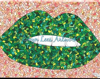 Freaky Craquelure Lips Artwork Print in Greens, Graphic Illustration in Ink and Pencil