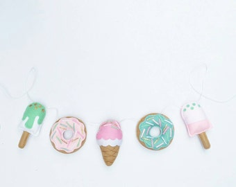 Icecream, donut and popsicle garland in pinks, mints and white