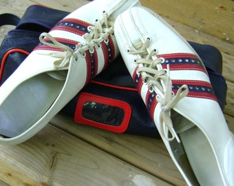 Bowling Shoes Vintage Retro Mens White Leather Fathers Day American USA Stars Stripes Bowling Alley Fashion Lanes Head Pin Lucky Strike