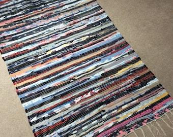 Denim Rag Rug Handmade Chindi Rug Handmade Rag Rug Boho Rag