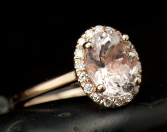 Oval Morganite and Diamond Halo Engagement Ring in Rose Gold,1.50ct Morganite Center, Prong Set Diamond Halo, Fit Flush Design, Maria C