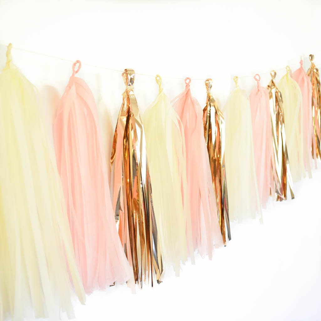 Rose gold garland kit rose gold decor rose gold tassel garland for Decoration maison rose gold