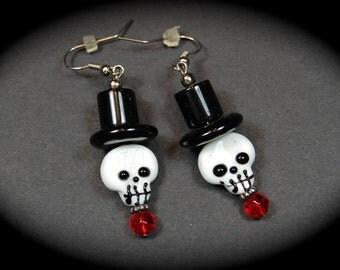 Halloween Skull Earrings, Lampwork Skull Earrings, Halloween Earrings, Halloween Jewelry, Handmade Earrings, Handmade Jewelry